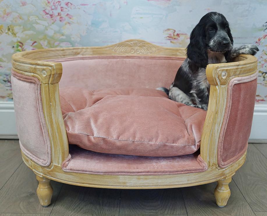 Pink velvet designer dog bed